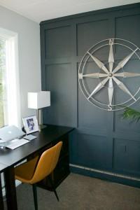 Sara Langley Designs| gray office with dark gray focal wall