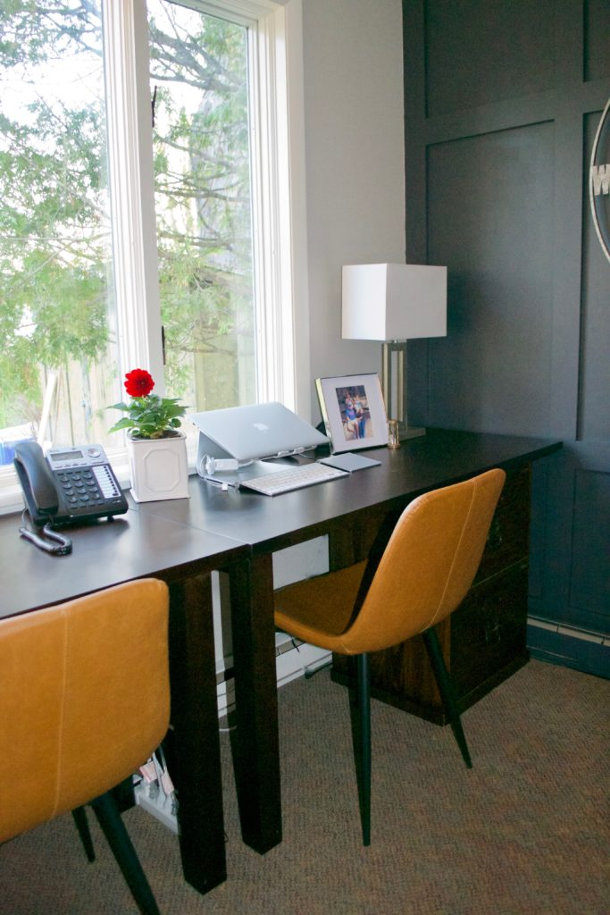 Sara Langley Designs |two office desks, mid century chairs, gray office