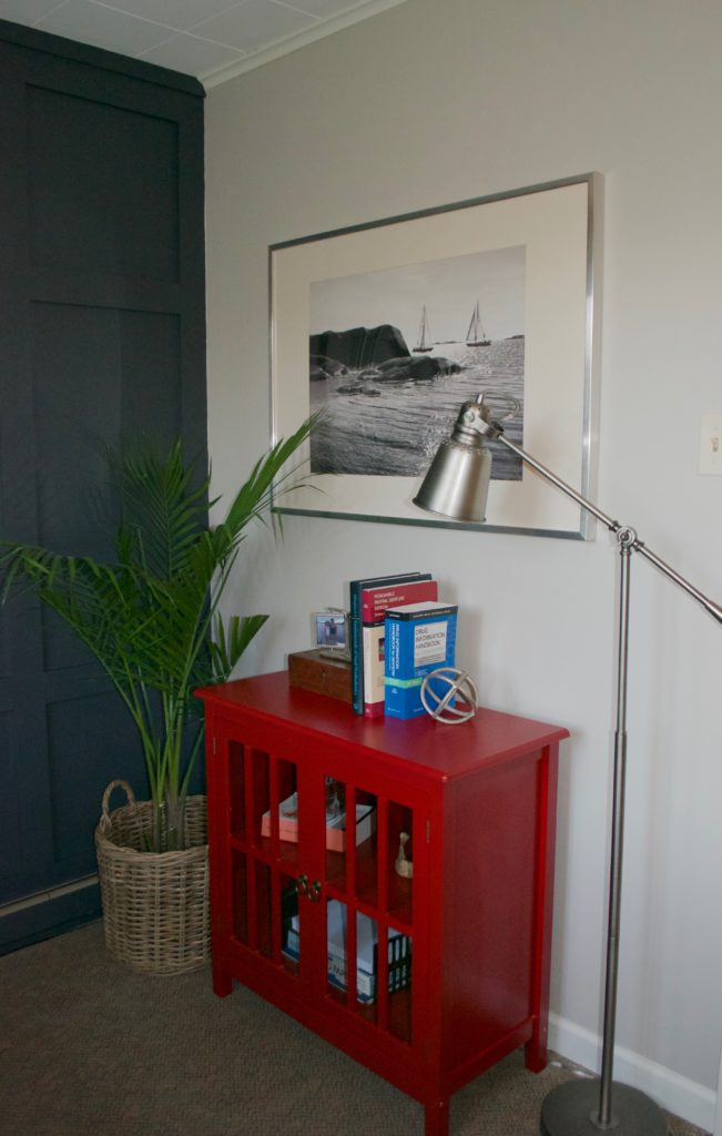 Sara Langley Designs |gray office interior, red console