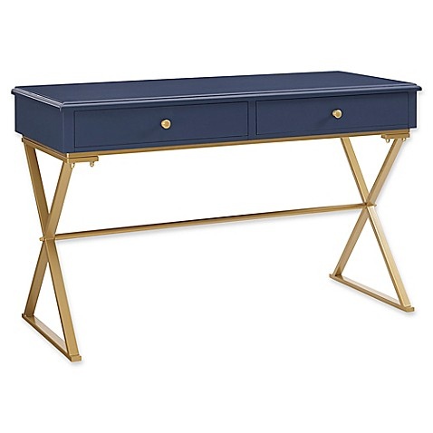navy desk with gold base