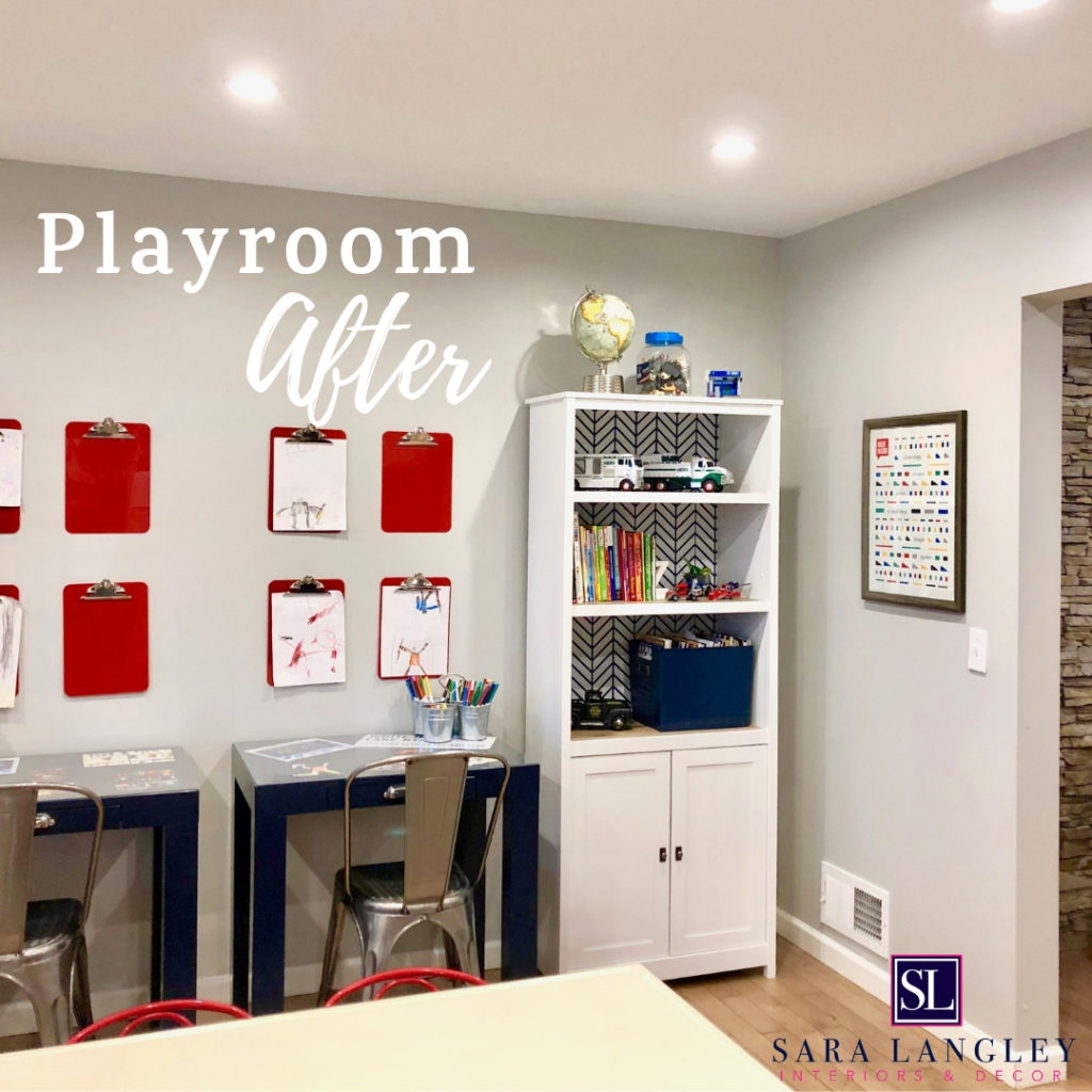 playroom with art table and desks