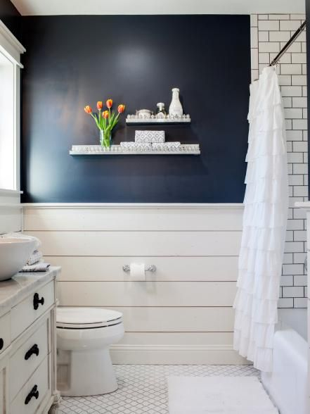 shiplap below chair rail bathroom